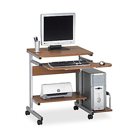 Eastwinds Portrait PC Desk Cart, Medium Cherry/Metallic Gray