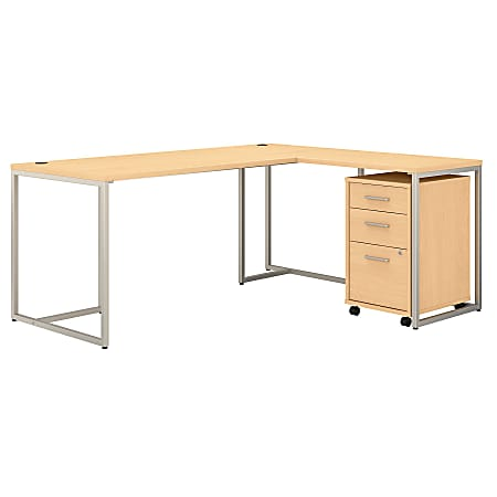 """kathy ireland® Office by Bush Business Furniture Method 72""""W L-Shaped Desk With 30""""W Return And Mobile File Cabinet, Natural Maple, Standard Delivery"""