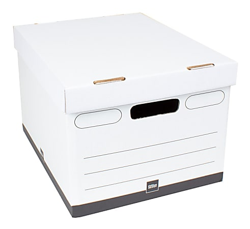 """Office Depot® Brand Heavy-Duty Quick Set Up Storage Boxes, Letter/Legal Size, 15"""" x 12"""" x 10"""", 60% Recycled, White/Black, Case Of 10"""