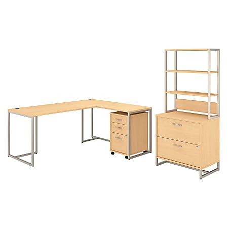 """kathy ireland® Office by Bush Business Furniture Method 72""""W L-Shaped Desk With 30""""W Return, File Cabinets And Hutch, Natural Maple, Standard Delivery"""