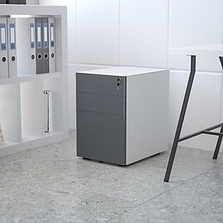 "Flash Furniture Modern 21""D Vertical 3-Drawer Mobile Locking Filing Cabinet, Metal, White/Charcoal"