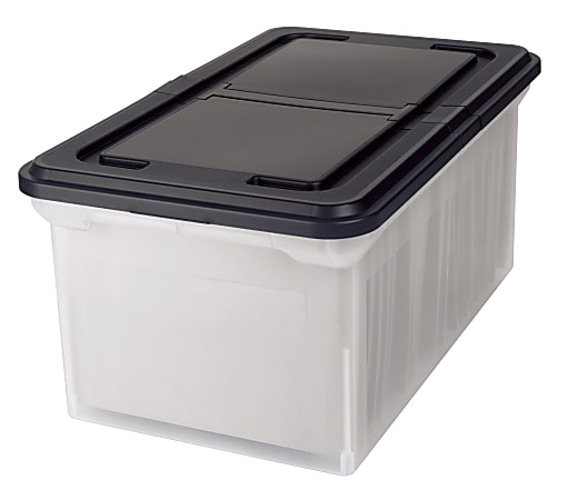 """Office Depot® Brand Stackable File Tote Box, Letter Size, 10-7/10""""H x 22-4/5""""D x 13-7/10""""W, Clear/Black"""