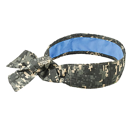 Ergodyne Chill-Its 6700CT Evaporative Cooling Tie Bandanas With Cooling Towel, Camo, Pack Of 6 Bandanas