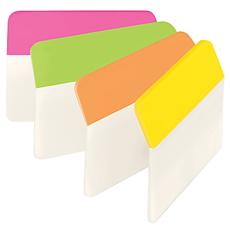 """Post-it® Durable Hanging File Folder Tabs, Angled, 2"""" x 1 1/2"""", Assorted Colors, Pack Of 24"""