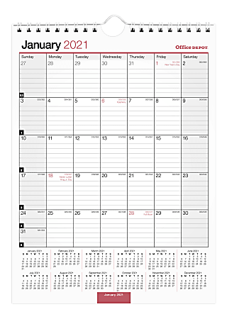 """Office Depot® Brand Monthly Wall Calendar, 8"""" x 11"""", White, January To December 2021, OD301328"""