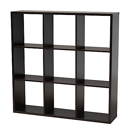 "Baxton Studio 9-Cube Storage Shelf, 47-3/8""H x 47-3/16""W x 11-7/16""D, Dark Brown"