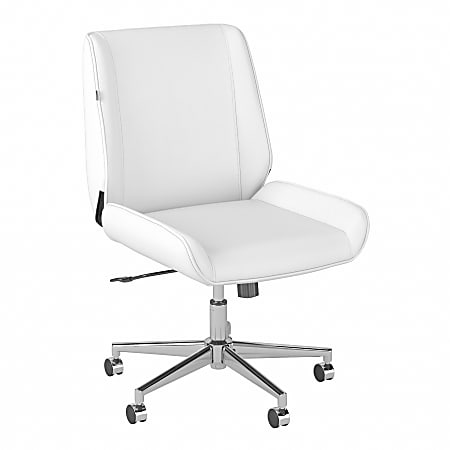 Bush® Business Furniture Bay Street Wingback Leather Office Chair, White, Standard Delivery