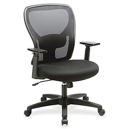 Lorell® Mid-Back Mesh/Fabric Task Chair, Black