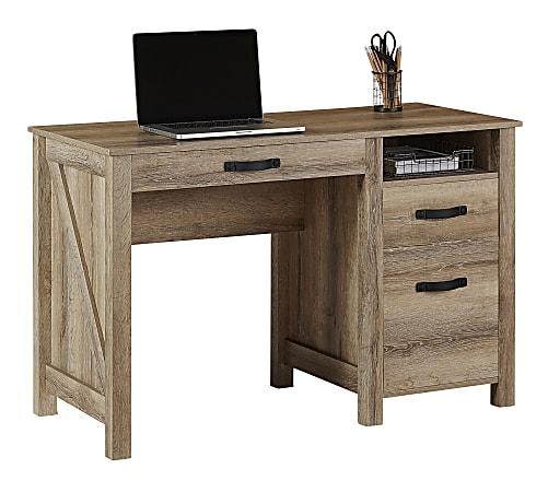 "Realspace® Plank 47""W Writing Desk, Coastal Oak"