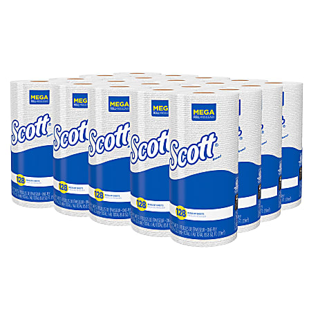 Scott® Absorbency Pockets® 1-Ply Paper Towels, 80% Recycled, 128 Sheets Per Roll, Pack Of 20 Rolls