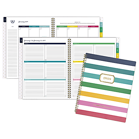 """Emily Ley Weekly/Monthly Planner, 8 3/8"""" x 11"""", Happy Stripe, January to December 2019"""