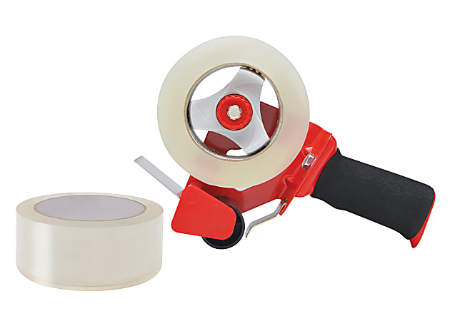 Office Depot® Brand Heavy-Duty Shipping Tape With Dispenser, Clear, Pack Of 2 Rolls