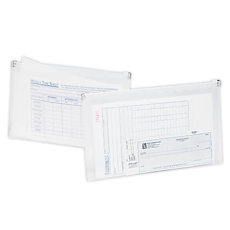 """Office Depot® Brand Transparent Zipper Envelopes, Check Size, 10.79"""" x 6.69"""" x 1.26"""", Clear, Pack Of 3"""