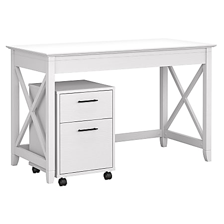 """Bush Furniture Key West 48""""W Writing Desk With 2-Drawer Mobile File Cabinet, Pure White Oak, Standard Delivery"""