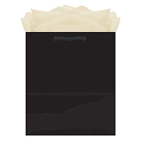 "Amscan Glossy Medium Gift Bags, 9-1/2""H x 7-3/4""W x 4-1/2""D, Black, Pack Of 10 Bags"