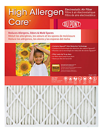 """DuPont High Allergen Care™ Electrostatic Air Filters, 16""""H x 16""""W x 1""""D, Pack Of 4 Filters"""