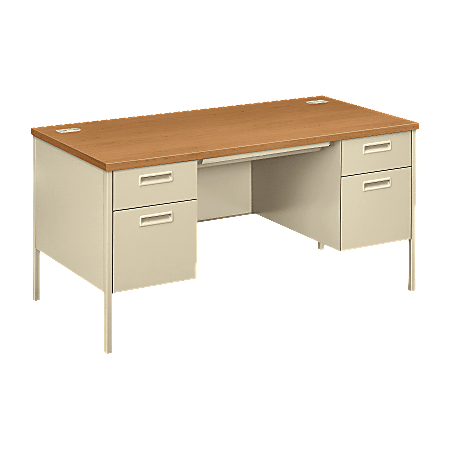 "HON® Metro Classic Double-Pedestal Desk, 60""W, Harvest/Putty"