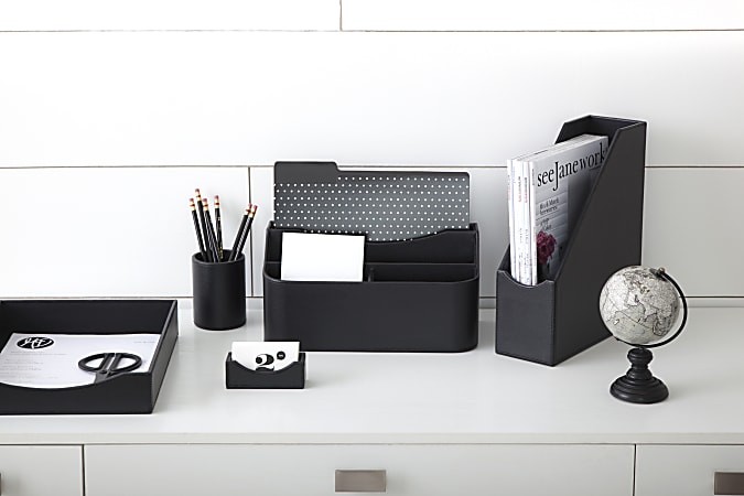 Realspace Black Faux Leather Paper Tray, Black Leather Desk Letter Tray