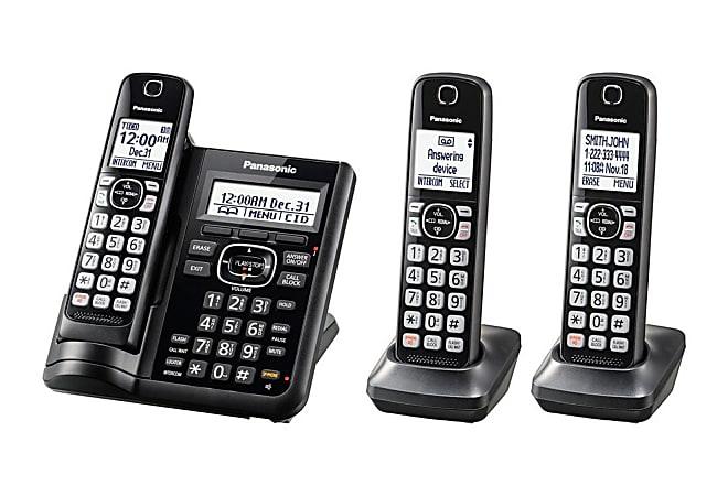 Panasonic® DECT 6.0 Cordless Telephone With Answering Machine And Dual Keypad, 3 Handsets, KX-TGF543B