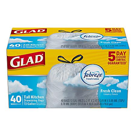 Glad® OdorShield® Tall Kitchen Trash Bags, 13 Gallons, Yellow, Box Of 40