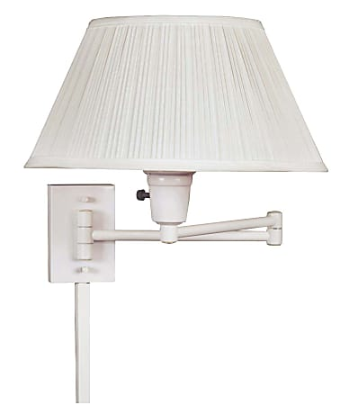 """Kenroy Home Simplicity Wall-Mount Swing Arm Lamp, 14-1/2""""W, White"""