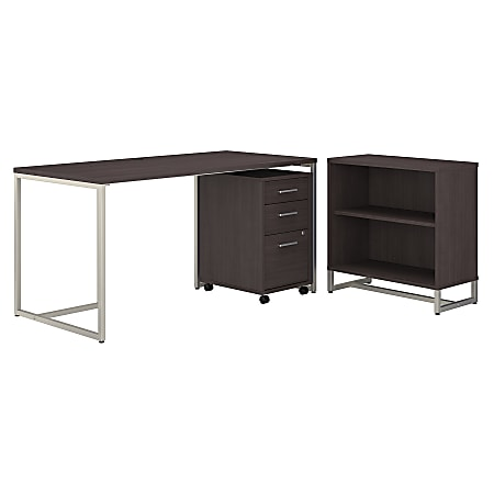 """kathy ireland® Office by Bush Business Furniture Method 60""""W Table Desk With Bookcase And Mobile File Cabinet, Storm Gray, Standard Delivery"""