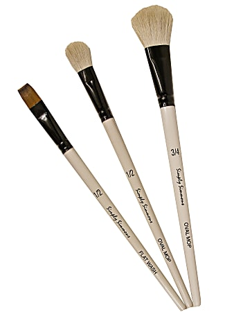 Robert Simmons Simply Simmons Value Paint Brush Set, Mop Up, Assorted Sizes, Assorted Bristles, White, Set Of 3