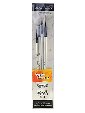 Robert Simmons Simply Simmons Value Paint Brush Set, Dot The Eyes, Assorted Sizes, Assorted Bristles, Synthetic, White, Set Of 4