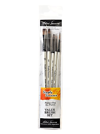 Robert Simmons Simply Simmons Value Paint Brush Set, Everything Set, Assorted Sizes, Assorted Bristles, Synthetic, White, Set Of 5