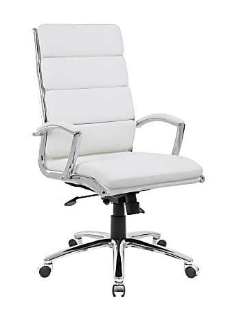 Boss Office Products CaressoftPlus™ Ergonomic Executive High-Back Chair, White/Chrome