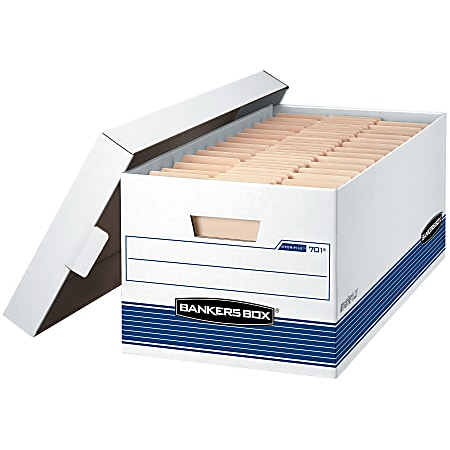 """Bankers Box® Stor/File™ Medium-Duty Storage Boxes With Lift-Off Lids, Letter Size, 10"""" x 12"""" x 24"""", White/Blue, Case Of 20"""
