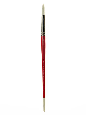 Winsor & Newton University Series Long-Handle Paint Brush 235, Size 12, Round Bristle, Hg Hair, Red