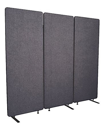 """Luxor RECLAIM Acoustic Privacy Panel Room Dividers, 66""""H x 24""""W, Slate Gray, Pack Of 3 Room Dividers"""