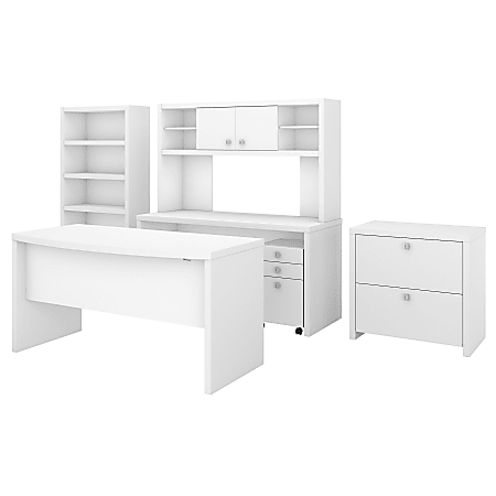kathy ireland® Office by Bush Business Furniture Echo Bow Front Desk, Credenza With Hutch, Bookcase And File Cabinets, Pure White, Standard Delivery