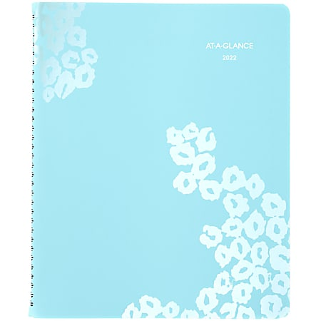 """AT A GLANCE® Wild Washes Weekly/Monthly Planner, 8-1/2"""" x 11"""", Teal, January To December 2022, 523-905"""