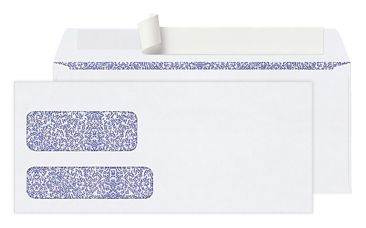 Office Depot® Brand #10 Security Envelopes, Double Window, Clean Seal, White, Box Of 250