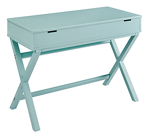 """Linon Lacey 42""""W Lift-Top Desk, Turquoise"""