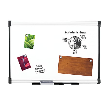 "FORAY™ Porcelain Magnetic Dry-Erase Whiteboard, 48"" x 72"", Aluminum Frame With Silver Finish"