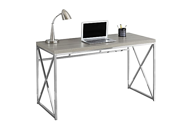 Monarch Specialties Contemporary Computer Desk With Framed Criss-Cross Legs, Chrome/Dark Taupe