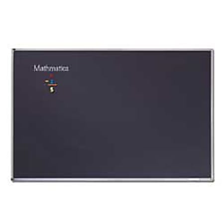 "Quartet® Education Magnetic Porcelain Chalkboard, 72"" x 48"", Black Aluminum Frame"