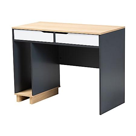 "Baxton Studio 40""W Mid-Century Modern Computer Desk, Gray/Oak/White"