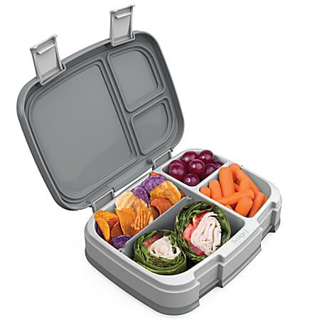 "Bentgo Fresh 4-Compartment Bento-Style Lunch Box, 2-7/16""H x 7""W x 9-1/4""D, Gray"