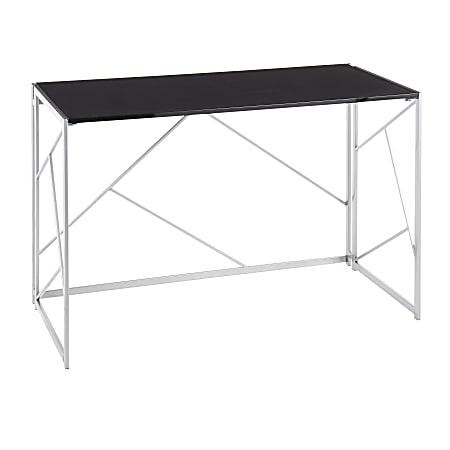 """LumiSource Folia 45""""W Desk, Silver/Black"""