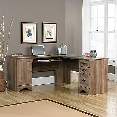 "Sauder® Harbor View 66""W Corner Computer Desk, Salt Oak"