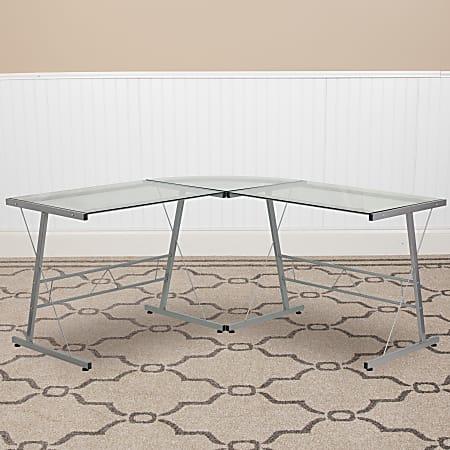 Flash Furniture Glass L-Shape Corner Computer Desk with Metal Frame, Silver/Clear
