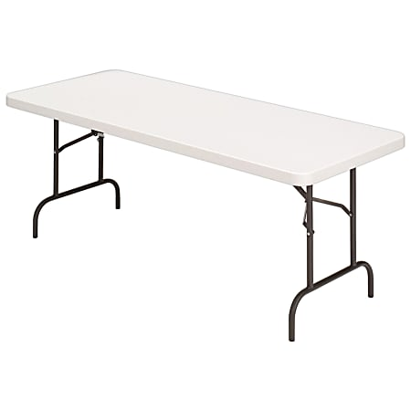 Realspace® Molded Plastic Top Folding Table, 5'W, Platinum