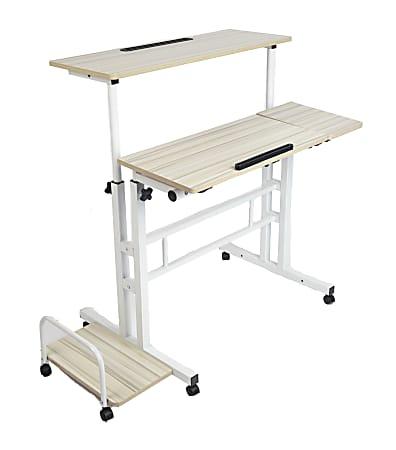"Mind Reader 39""W Mobile Sitting/Standing Desk, White"