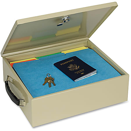 """Insulated Metal Jumbo Security Chest With Lock, 1 Compartment, 4 3/8""""H x 13 9/16""""W x 10 13/16""""D, Sand"""