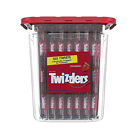 Twizzlers Strawberry Licorice, 36.7 Oz, Canister Of 105 Pieces