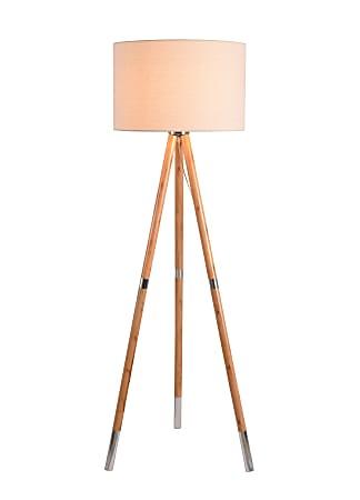 "Kenroy Home Jordon Floor Lamp, 61""H, Natural Woodgrain Base/Cream Shade"